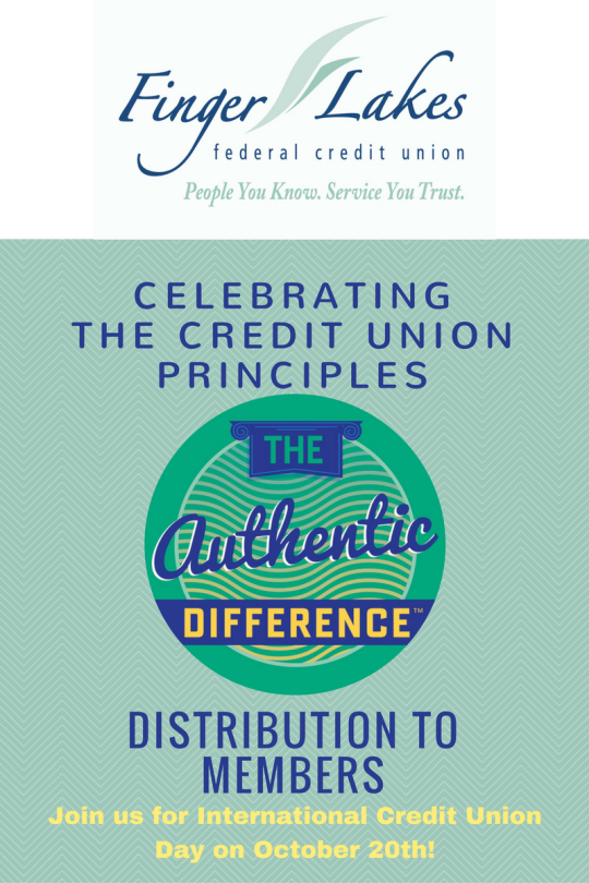 Finger Lakes FCU - Celebrating the CU principles. Distribution to Members. Join us for international CU day on Oct. 20th.