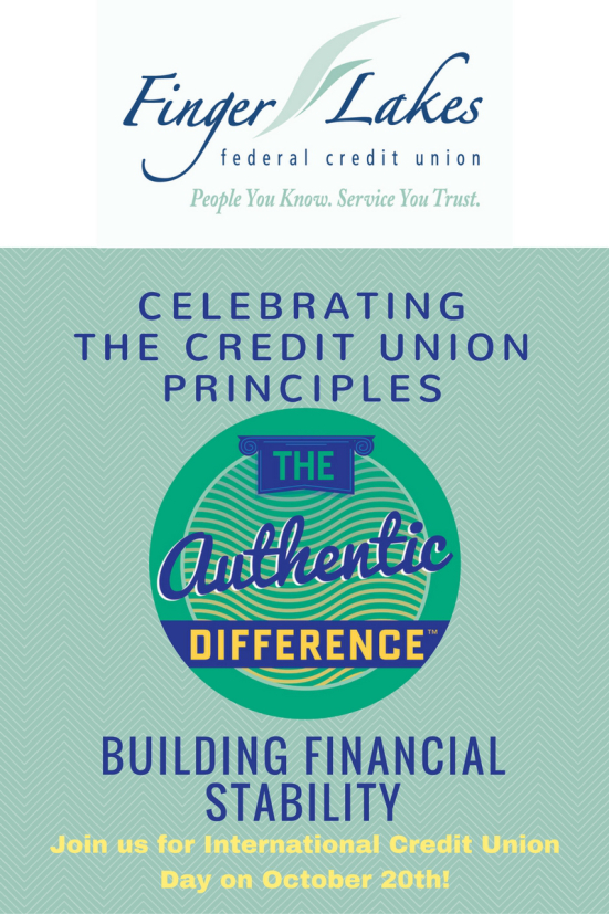 Finger Lakes FCU - Celebrating the CU principles. Building financial stability. Join us for international CU day on Oct. 20th.