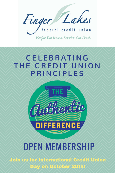 Finger Lakes FCU - Celebrating the CU principles. Open membership. Join us for international CU day on Oct. 20th.